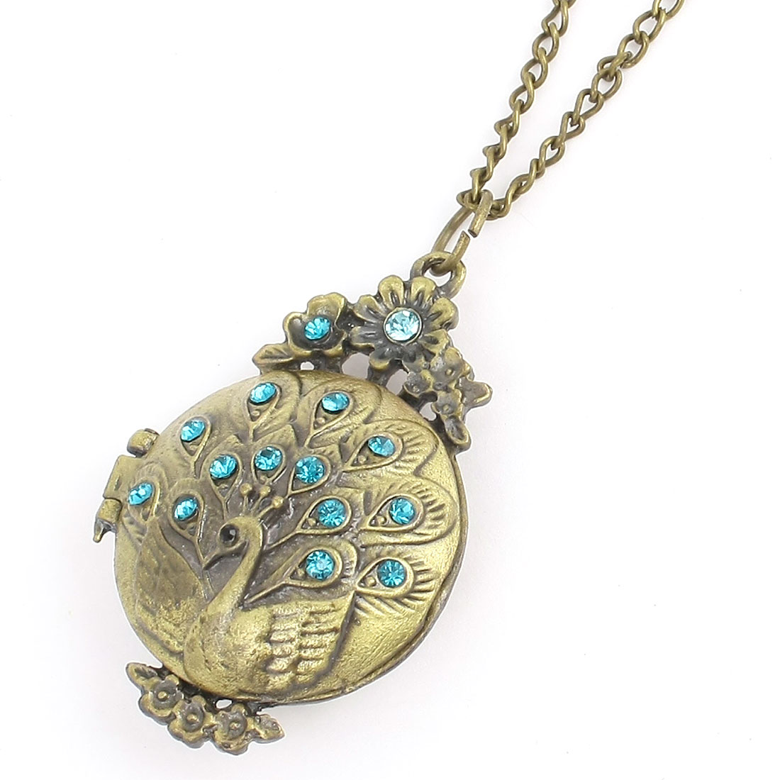 Bronze Tone Peacock Design Pendant Decoration Sweater Necklace