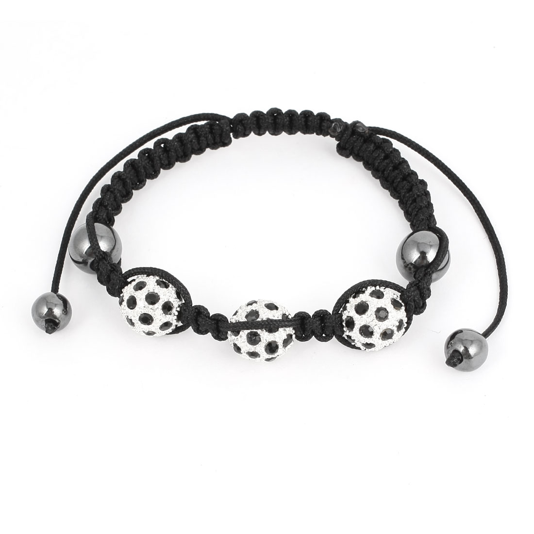 Unisex Rhinestone Metal Beads Detailing Adjustable Hand-knitting Bracelet Bangle