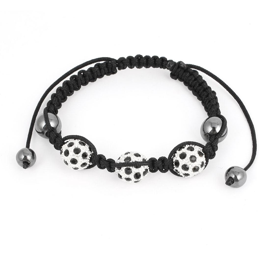 Unisex Rhinestone Metal Beads Detailing Adjustable Hand-knitting Bracelet Bangle