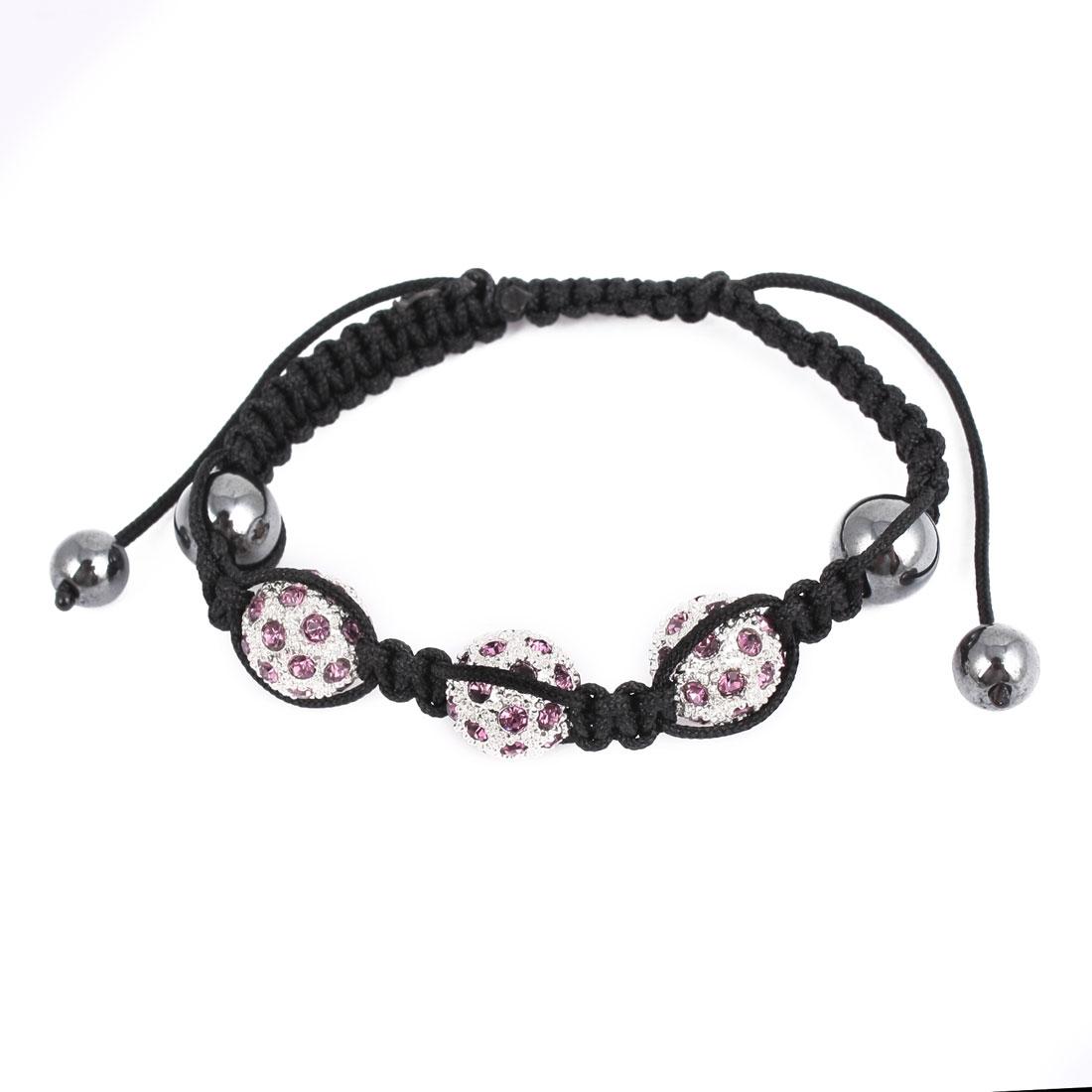 Unisex Wrist Decor Purple Rhinestone Metal Beads Detail Adjustable Bracelet