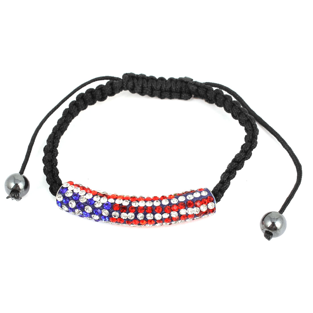 Unisex Wrist Decor Rhinestone Detailing US Flag Braided Bracelet Bangle Black