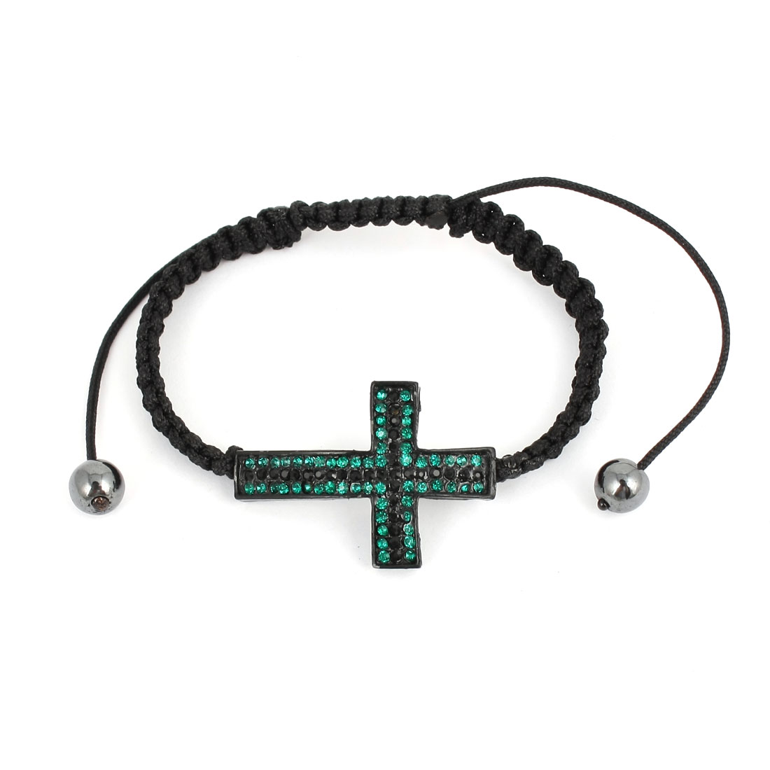Unisex Rhinestone Cross Detailing Stretch Bracelet Bangle Black Teal Green