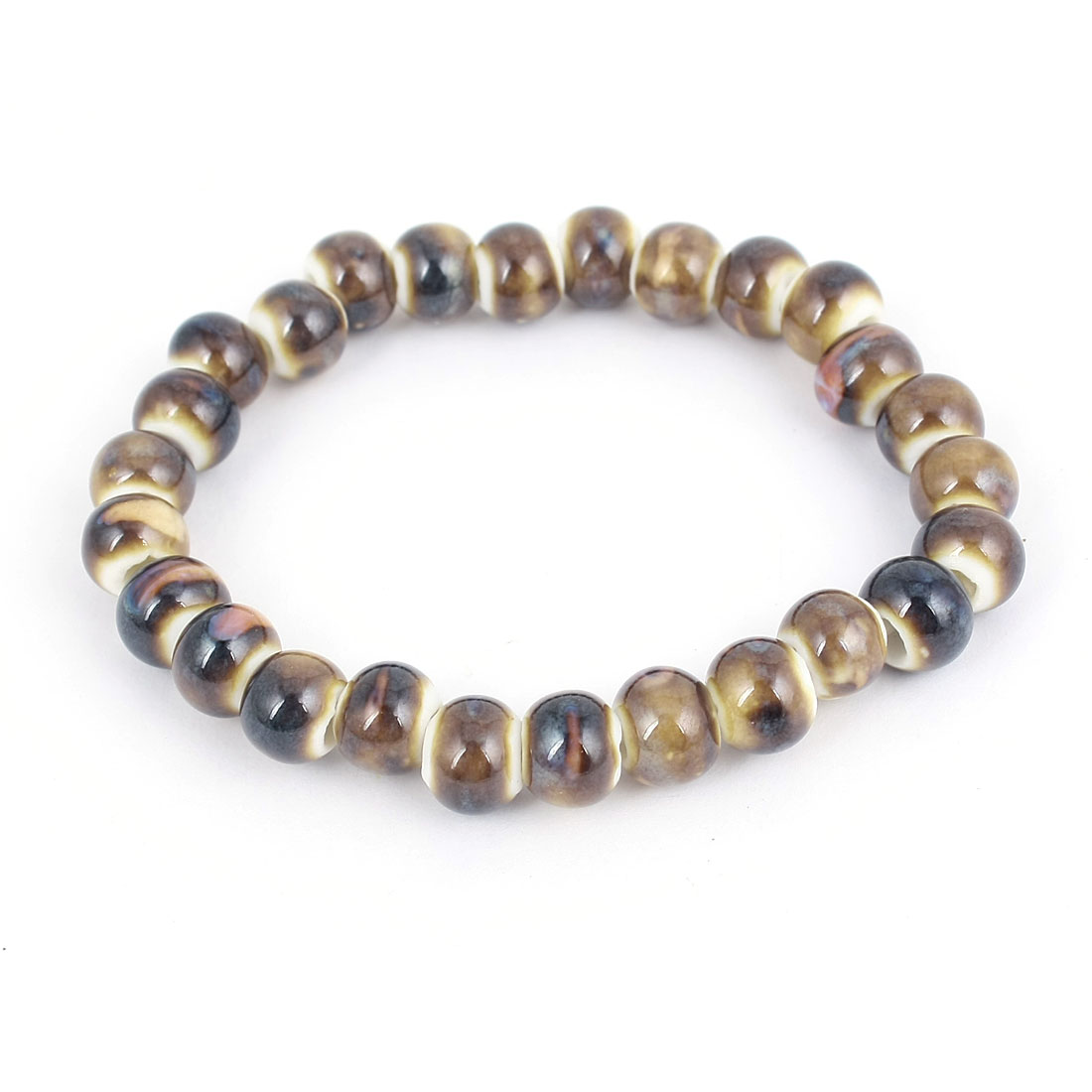 Women Men Ceramic Beads Elastic Wrist Ornamnet Bracelet Brown Black