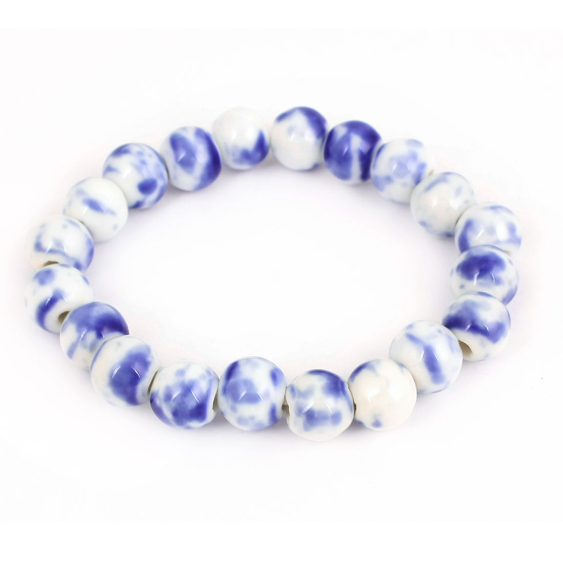Chinese Style Wrist Decor White Blue Ceramic Elastic Bracelet for Women Men