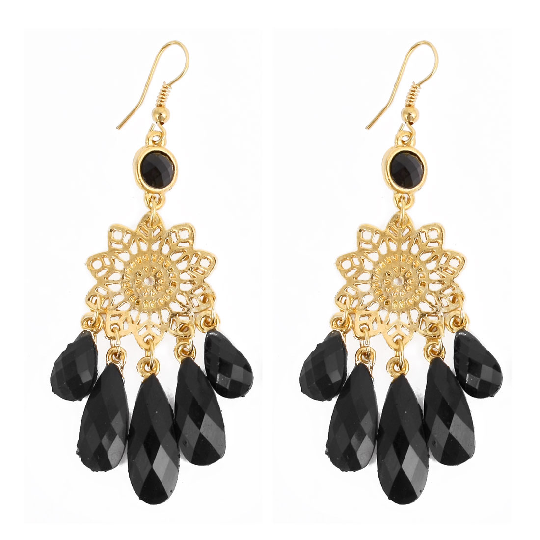 Lady Pair Black Gold Tone Plastic Beads Decor Waterdrop Dangling Hook Earrings