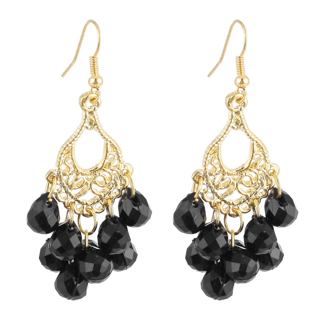 Lady Pair Black Gold Tone Plastic Beads Ornament Dangling Hook Earrings