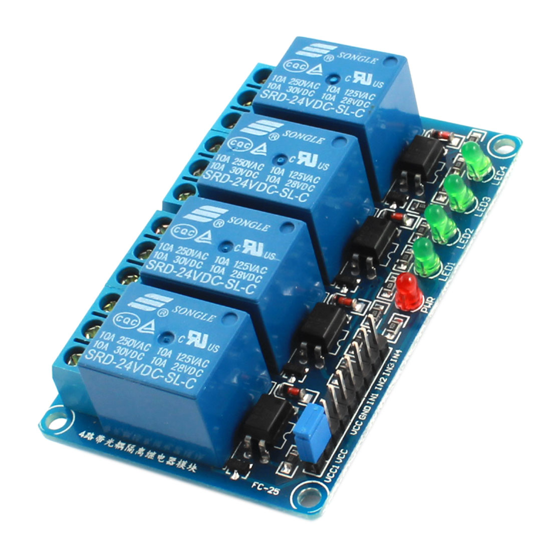 D24V 4 Channel 4-CH Low Level Trigger Optical Coupler Relay Circuit Module