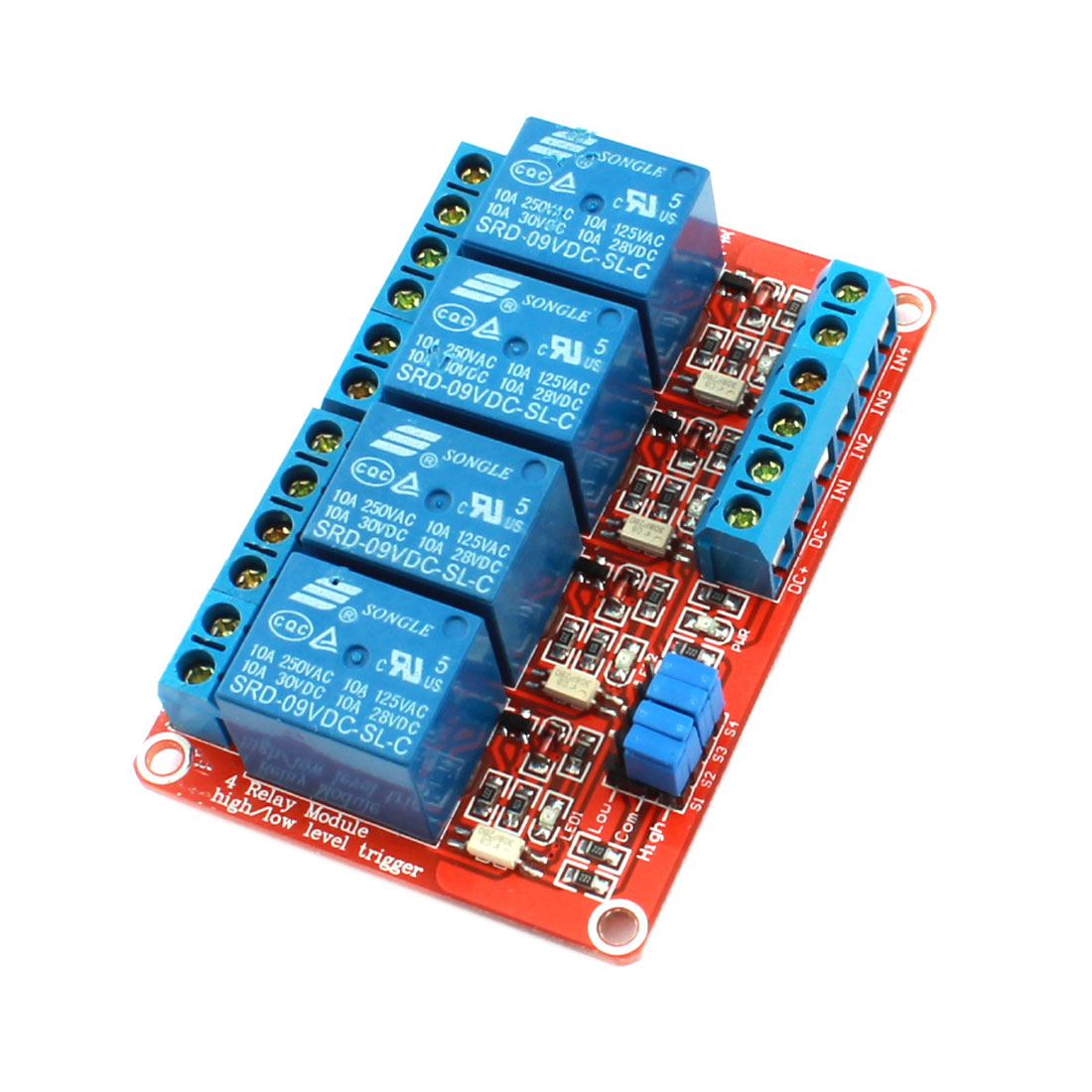 Red DC9V 4 Channel 4-CH High/Low Level Trigger Optical Coupler Relay Circuit Module