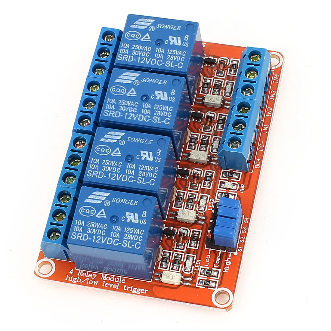 DIY Red 4-Channel High/Low Level Trigger Relay Expansion Circuit Board Module DC 12V
