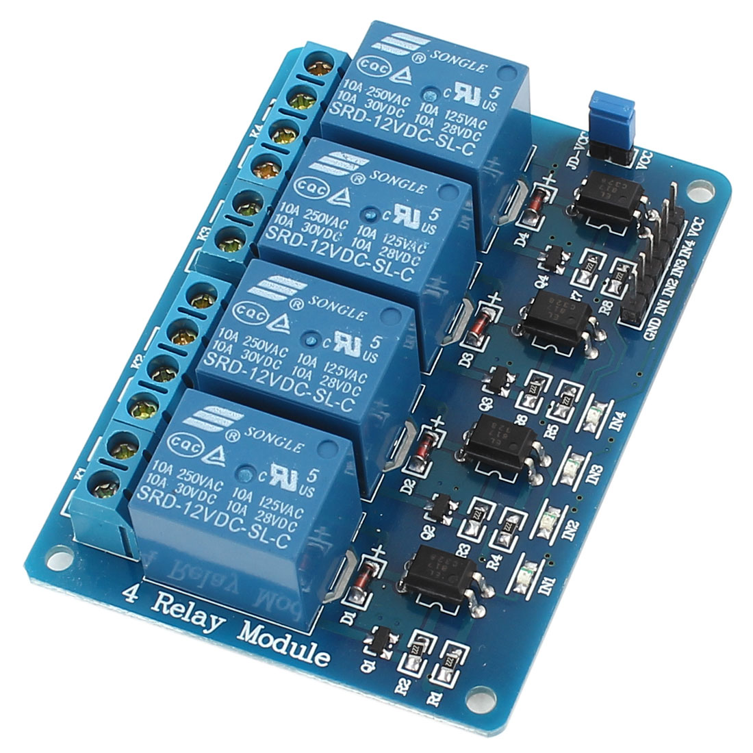 DC12V 4 Channel 4-CH Low Level Trigger Optical Coupler Relay Circuit Module