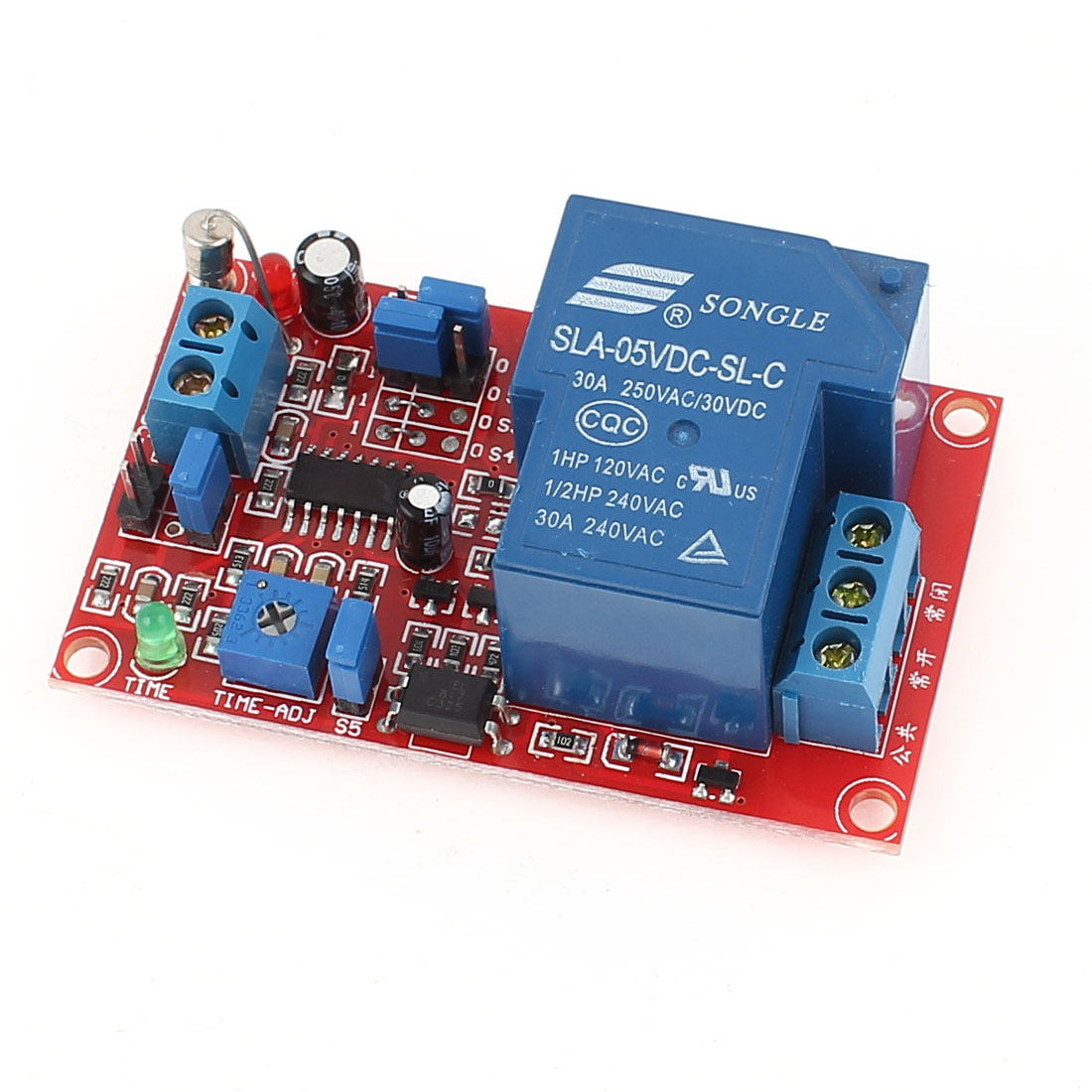 SLA-05VDC-SL-C 1 Channel High/Low Level Adjustable Delay Time Relay Module DC5V 30A