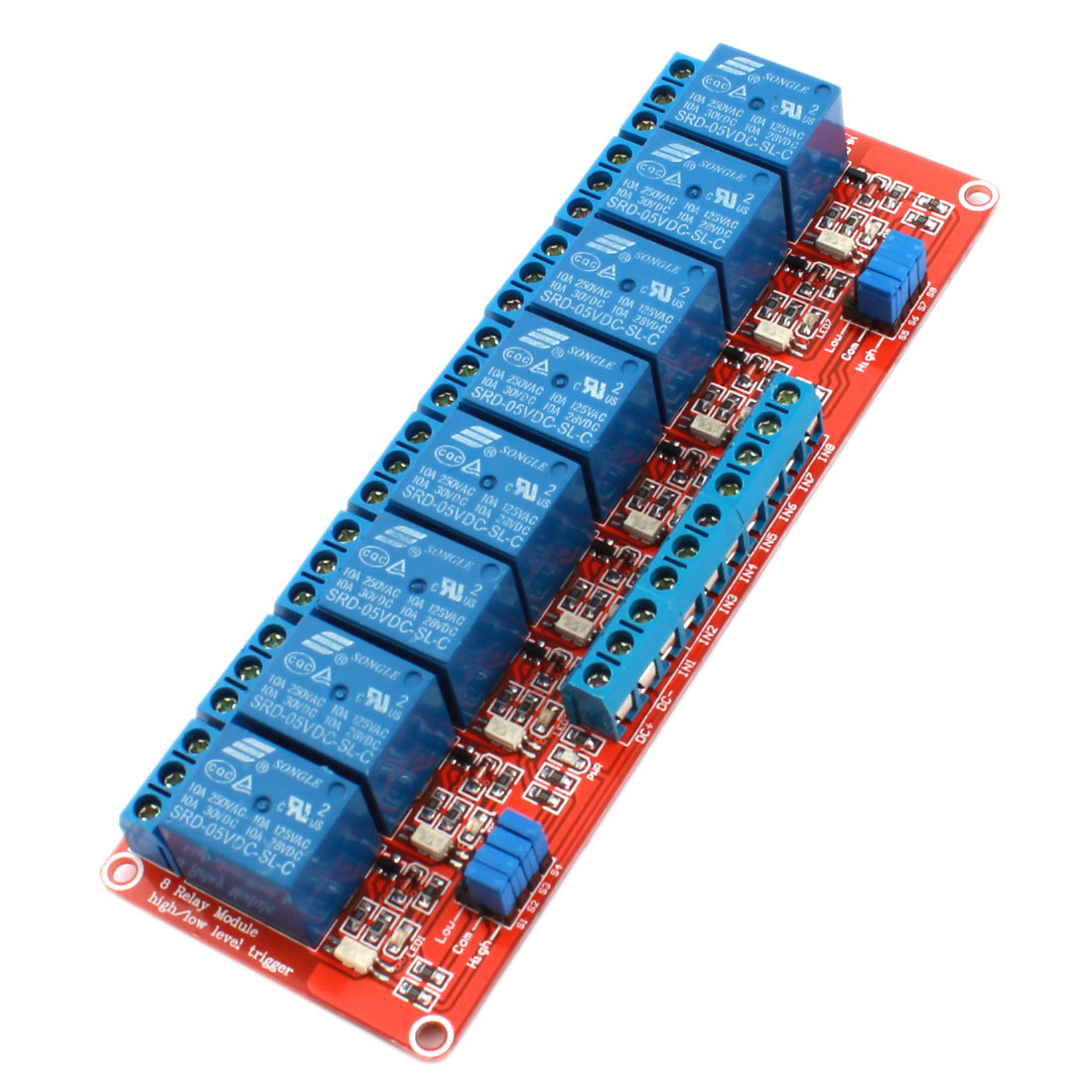 SRD-05VDC-SL-C 8 Channel High/Low Level Trigger Optical Coupler Relay Module DC5V 10A