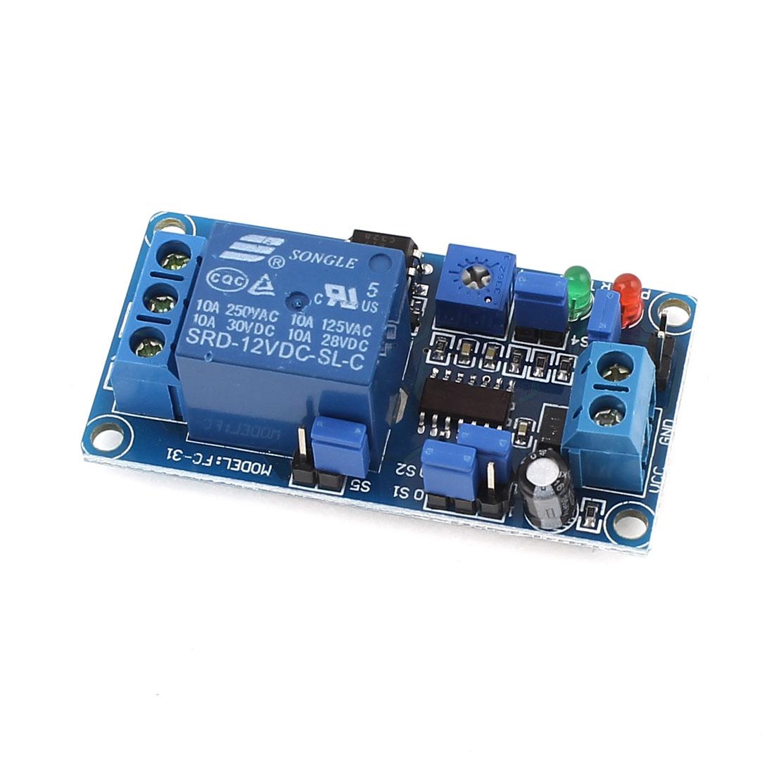 SRD-12VDC-SL-C 1 Channel High/Low Level Trigger Adjustable Delay Time Relay Module DC12V 10A