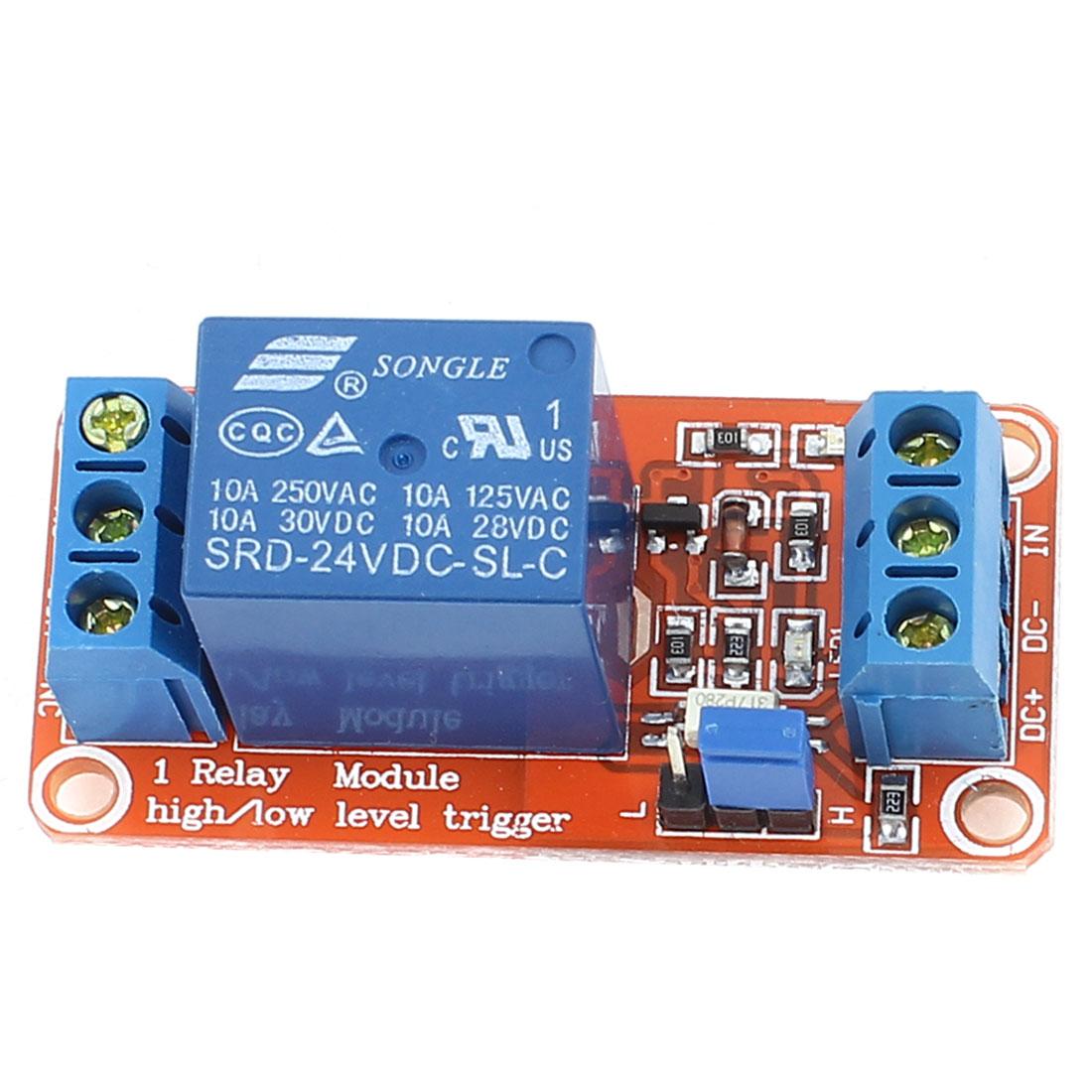 SRD-24VDC-SL-C 1 Channel High/Low Level Trigger Optical Coupler Relay Module DC24V 10A