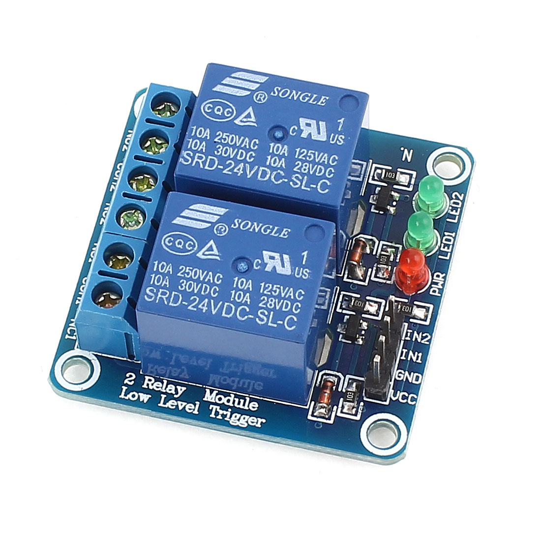 DIY Blue 2-Channel Low Level Trigger Relay Expansion Circuit Board Module DC 24V
