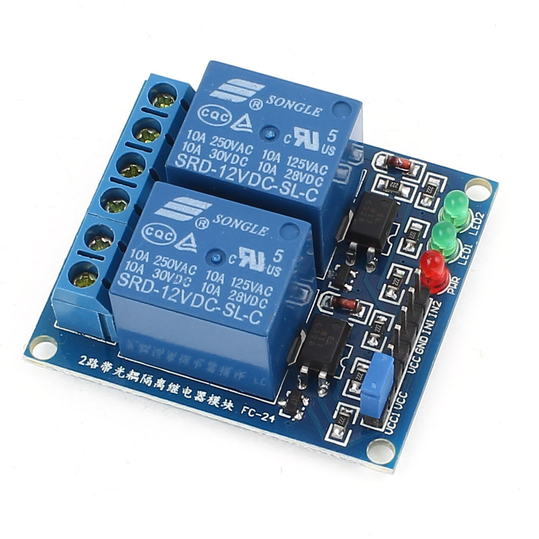 DC12V 2 Channel 2-CH Low Level Trigger Optical Coupler Relay Circuit Module