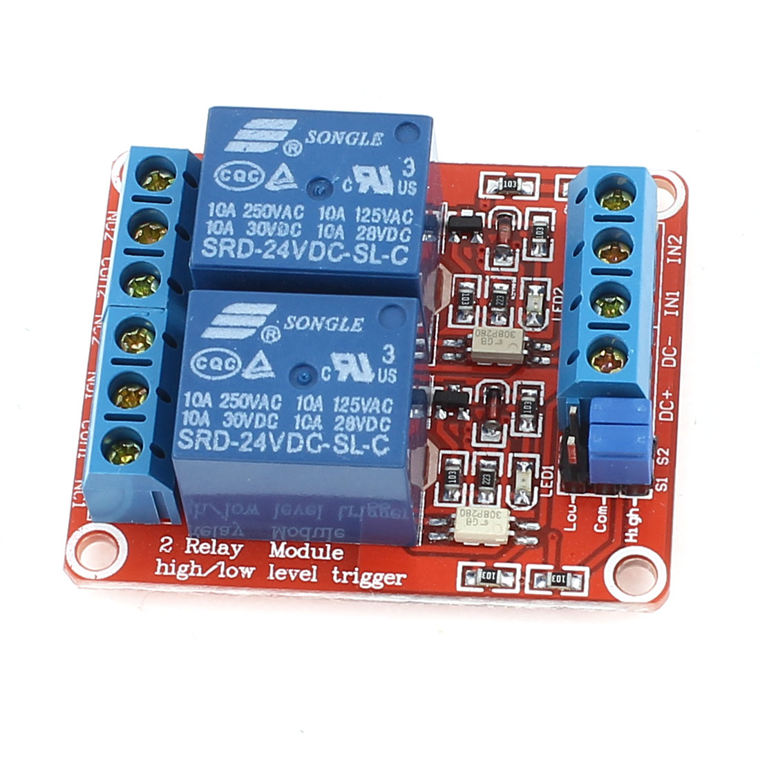 DIY Red 2-Channel High/Low Level Trigger Relay Expansion Circuit Board Module DC 24V