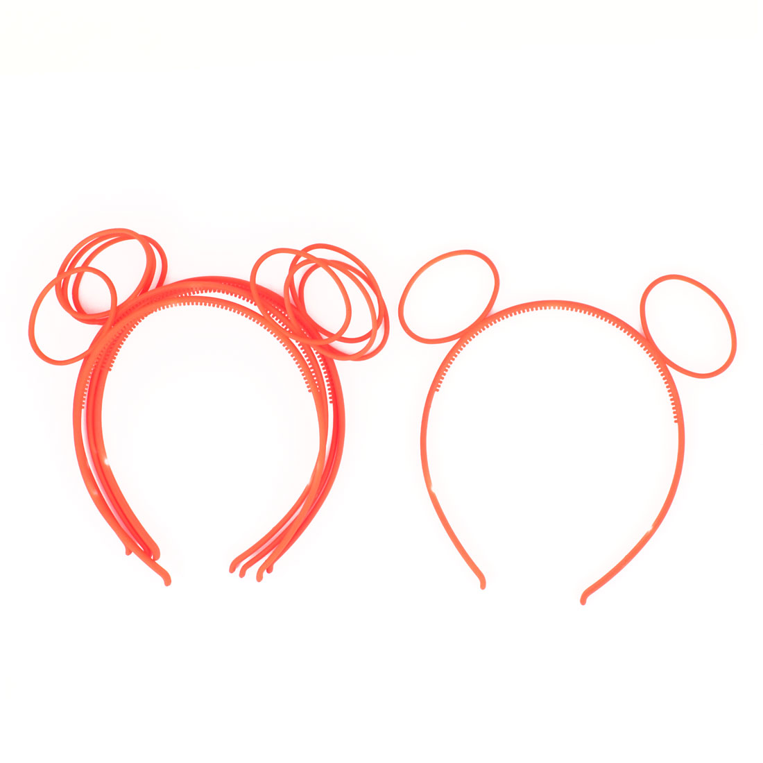 "0.2"" Width Plastic Ears Detail Hair Decor Hairband Hoop Orange Red 5 Pcs"