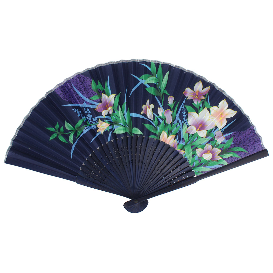 Floral Leaf Print Bamboo Frame Fabric Foldable Hand Fan Purple Green
