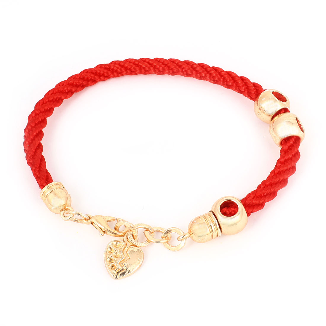 Gold Tone Hollow Out Beads Accent Lobster Clasp Red Twisted String Bracelet