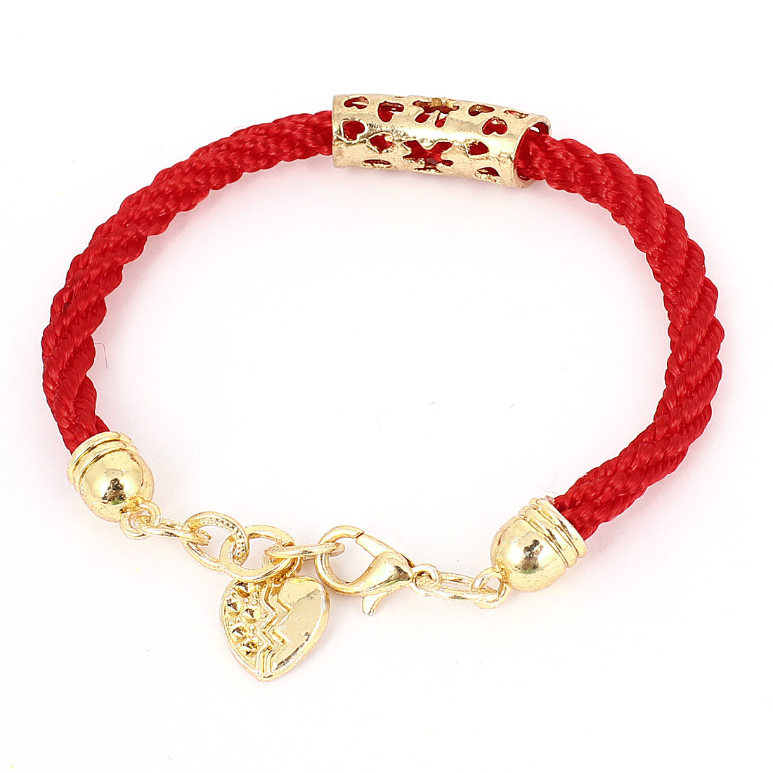 Gold Tone Hollow Heart Shape Accent Lobster Clasp Red Twisted String Bracelet