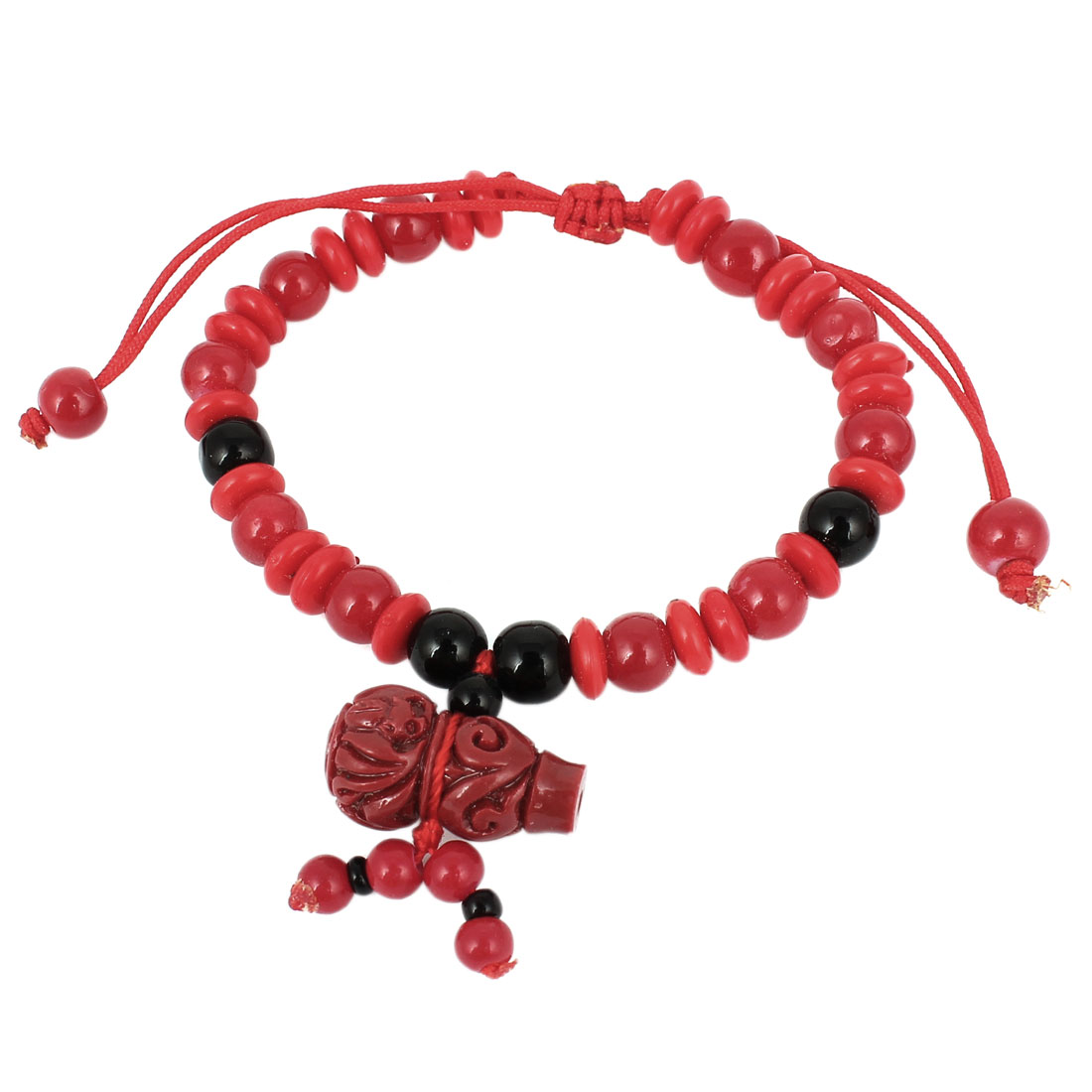 Plastic Carved Cucurbit Detailing Black Red Beads Chain Draw String Bracelet