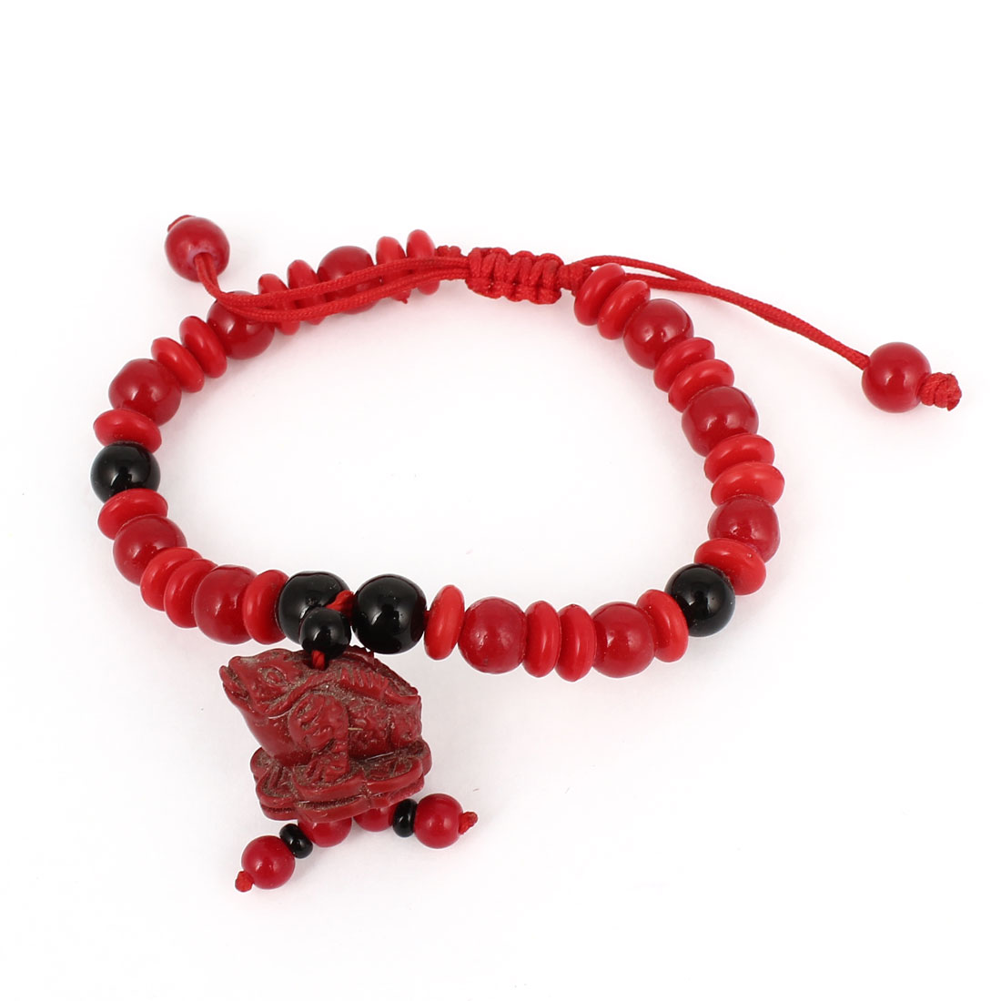 Plastic Carved Bufonid Decor Black Red Beads Chain Draw String Bracelet Bangle