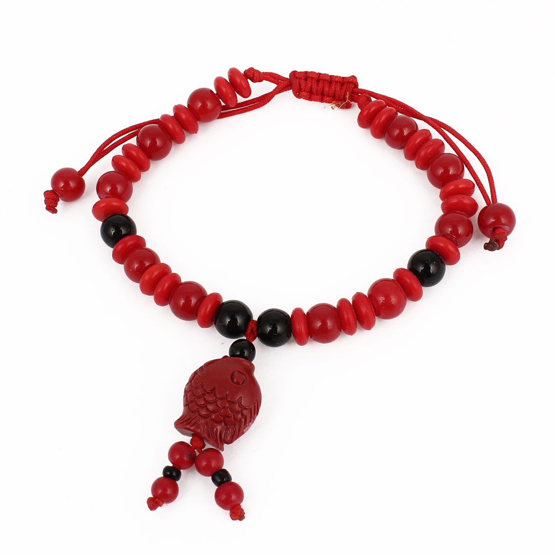 Plastic Carved Fish Decor Black Red Beads Chain Draw Nylon String Bracelet