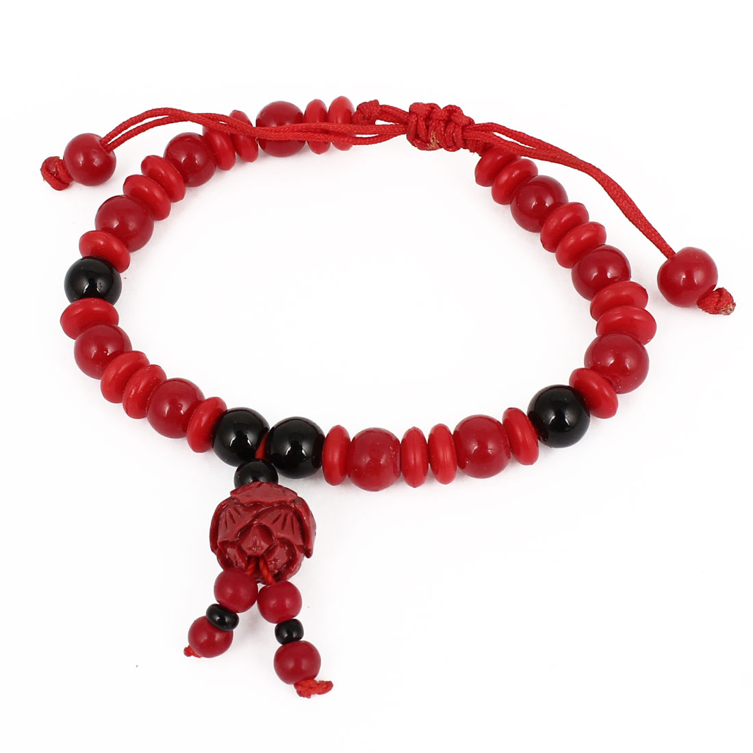 Plastic Carved Flower Bud Accent Black Red Beads Draw String Wrist Bracelet