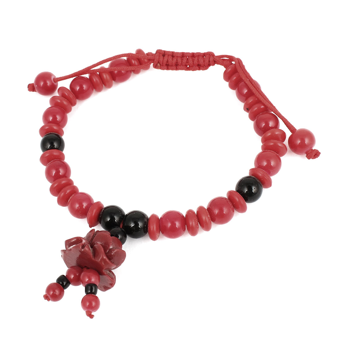 Carved Lotus Flower Decor Beads Chain Draw String Bracelet Bangle Black Red