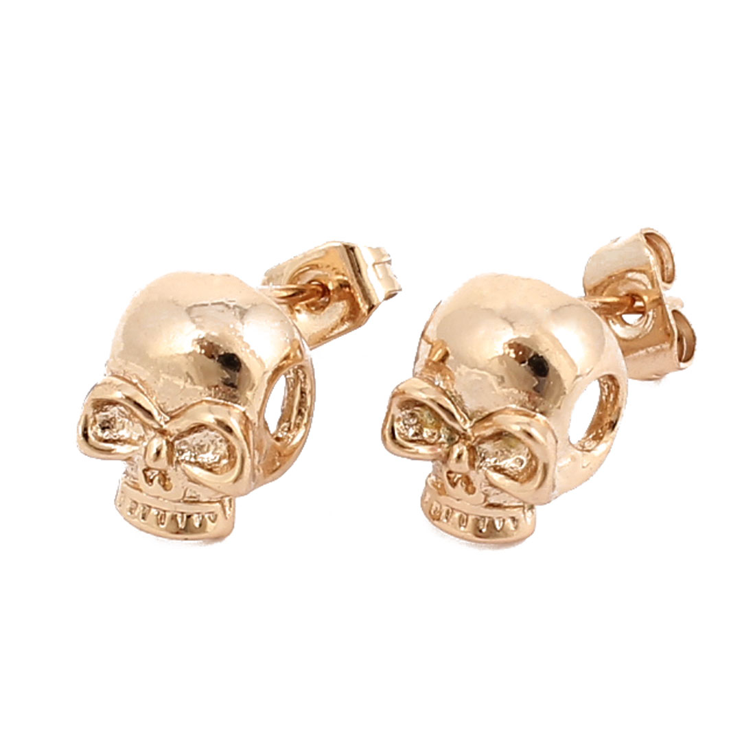 Ear Decor Pair Gold Tone Metal Skull Shaped Stud Pin Earbobs Earings
