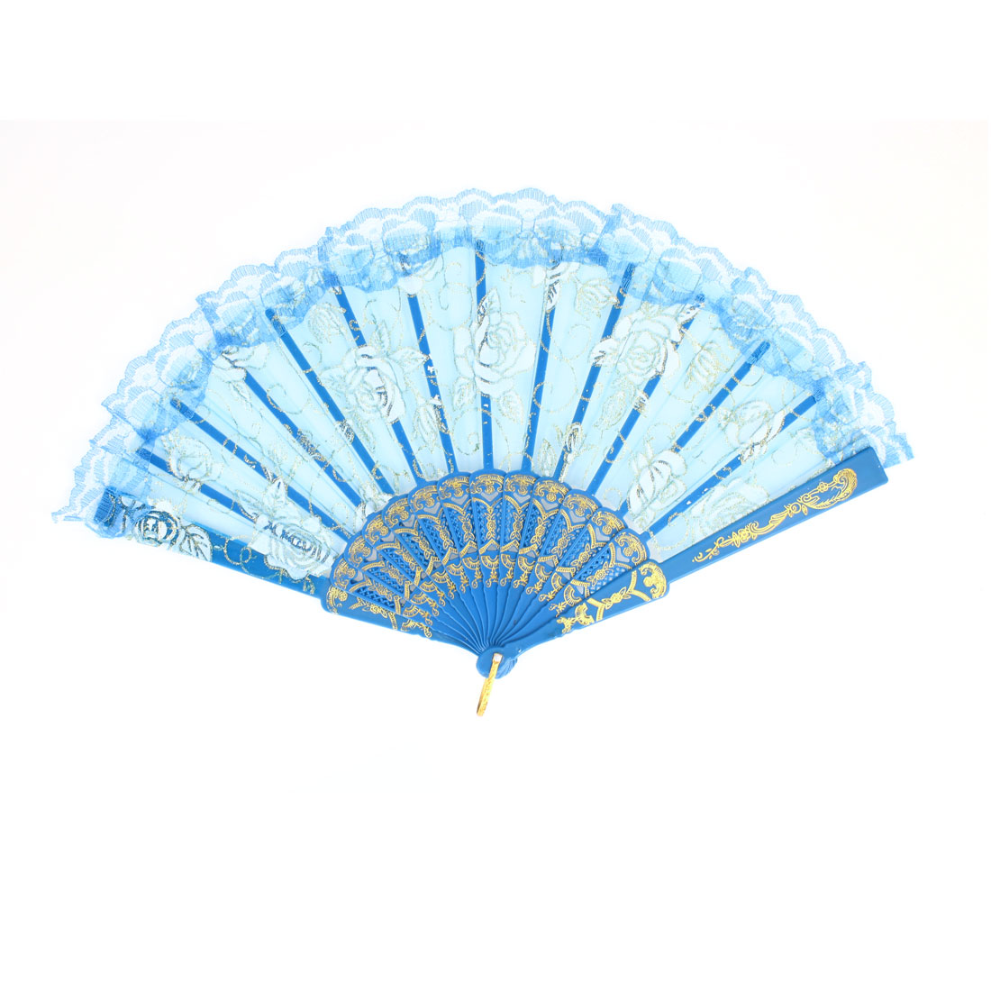 White Flower Pattern Lace Brim Organza Hand Fan Gold Tone Blue w D Ring
