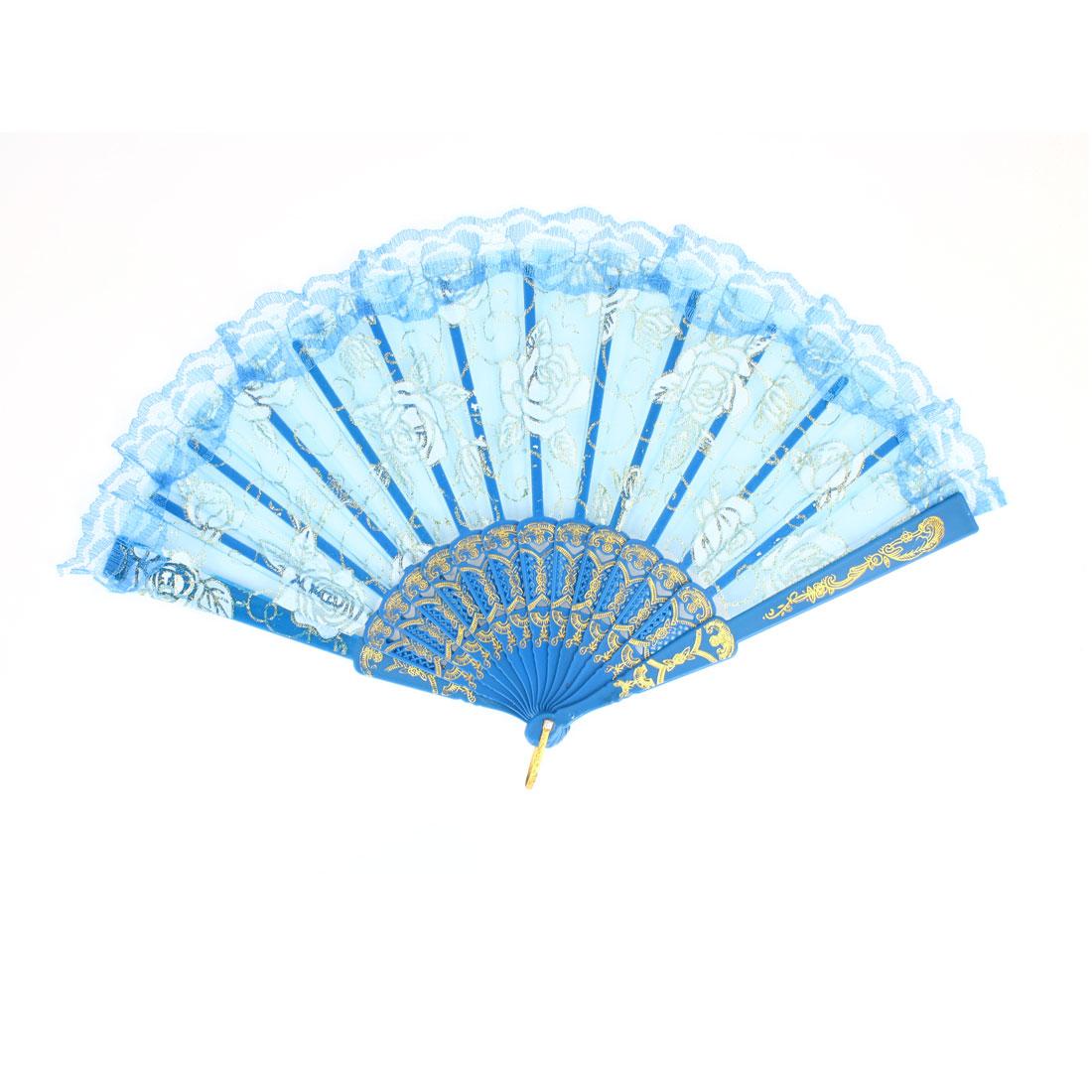 White Flower Pattern Lace Brim Organza Hand Fan Gold Tone Blue w D Ring