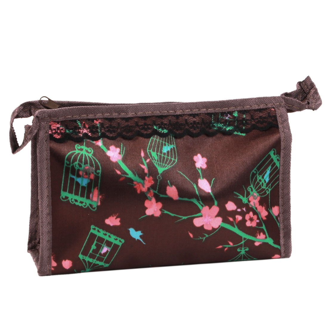 Lady Wintersweet Print Single Zipper Closure Cosmetic Bag Pouch Chocolate Color
