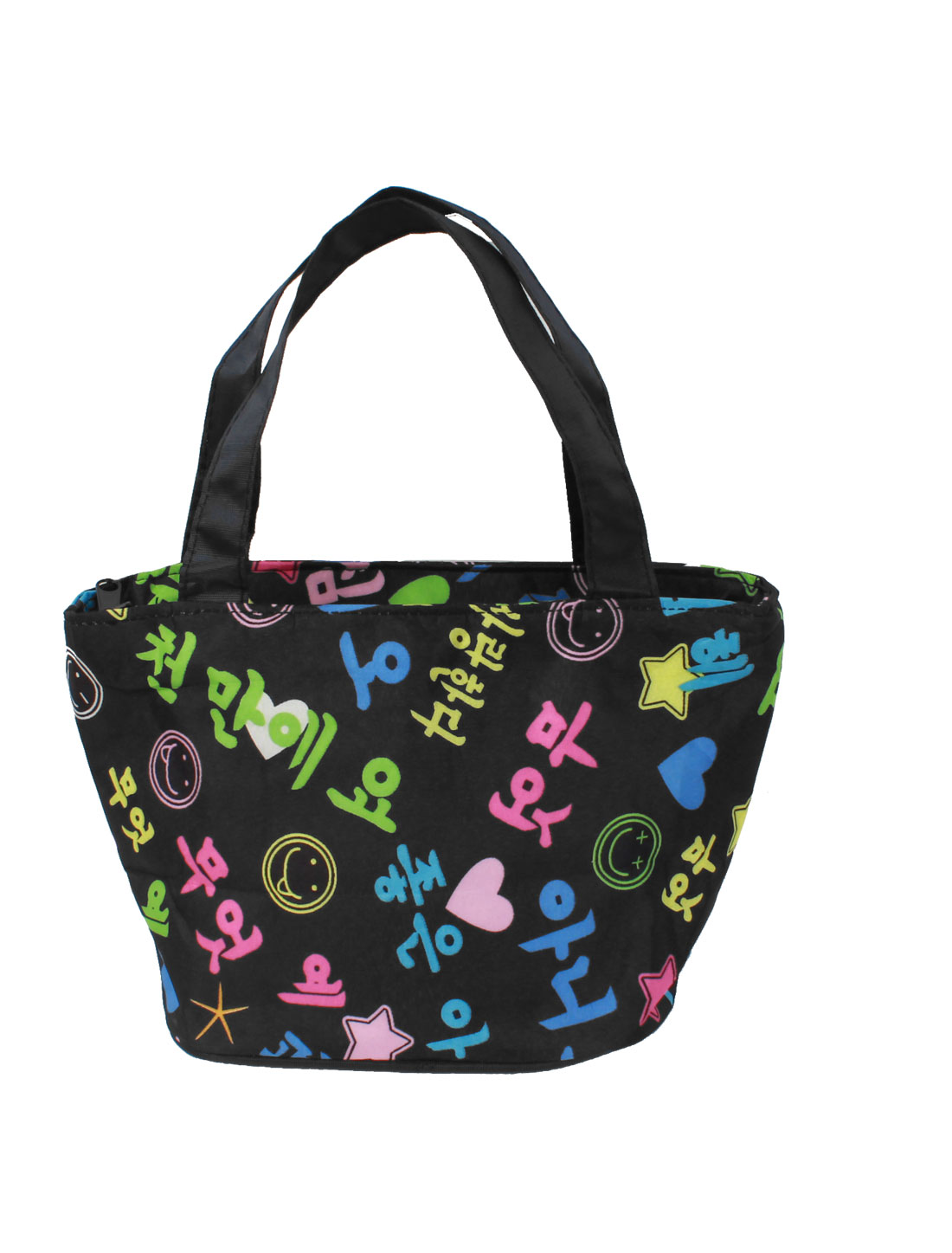Colorful Letters Prints Zipper Closure Recycle Shopping Handbag Black for Lady
