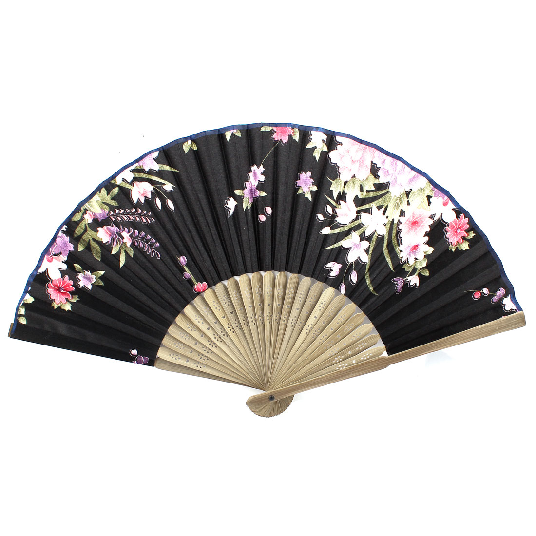 Black Beige Bamboo Ribs Flower Pattern Foldable Hand Fan
