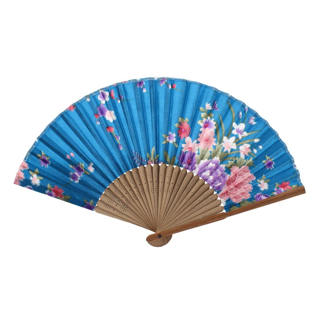 Teal Beige Bamboo Ribs Flower Pattern Foldable Hand Fan