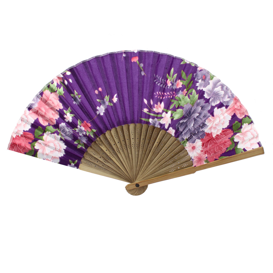 Beige Purple Bamboo Ribs Flower Pattern Foldable Hand Fan