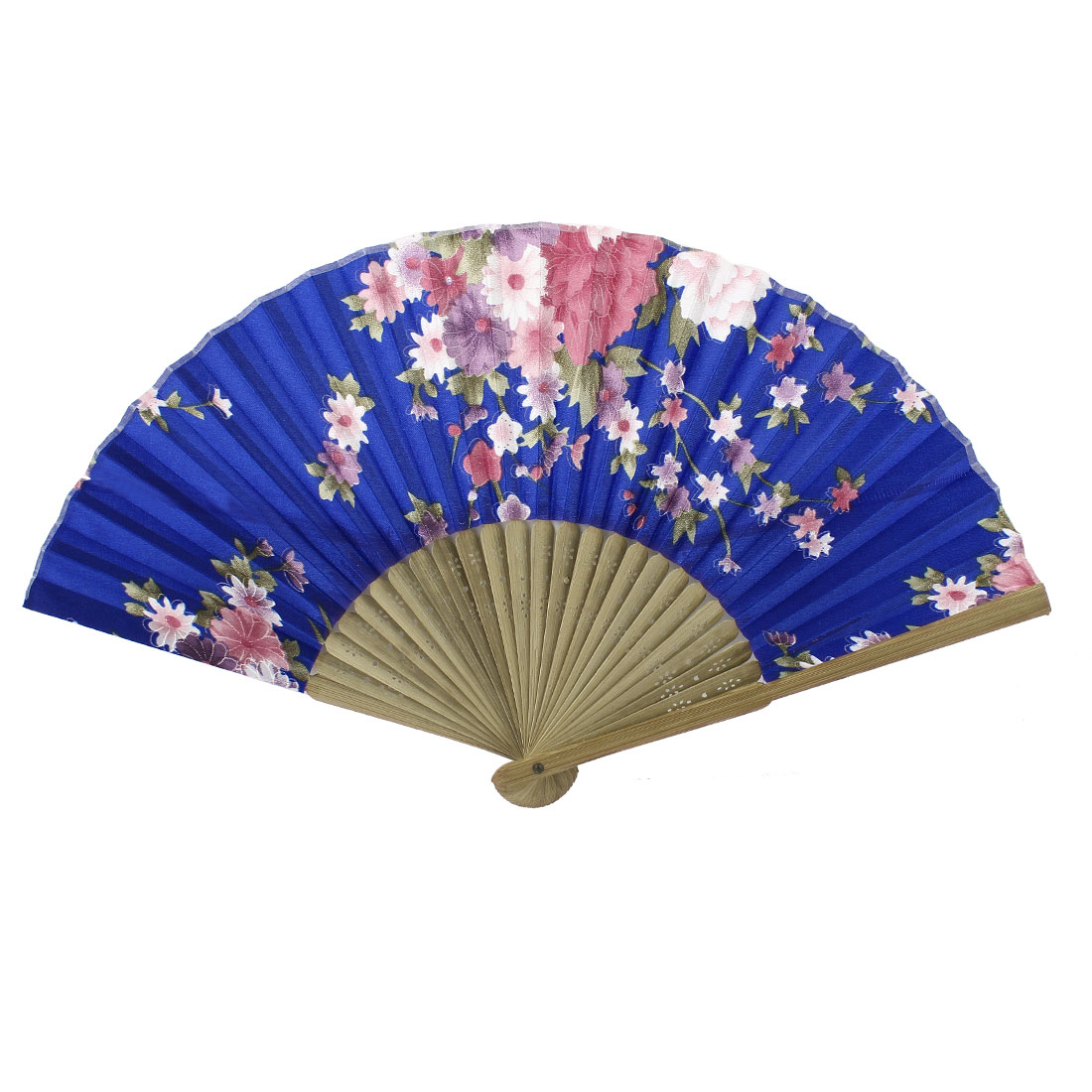 Blue Beige Bamboo Ribs Flower Pattern Foldable Hand Fan