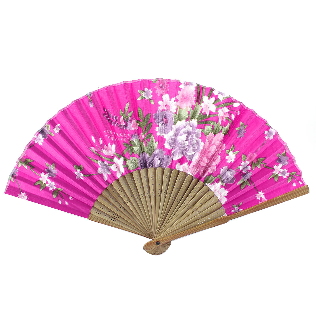 Fuchsia Beige Bamboo Ribs Flower Pattern Foldable Hand Fan
