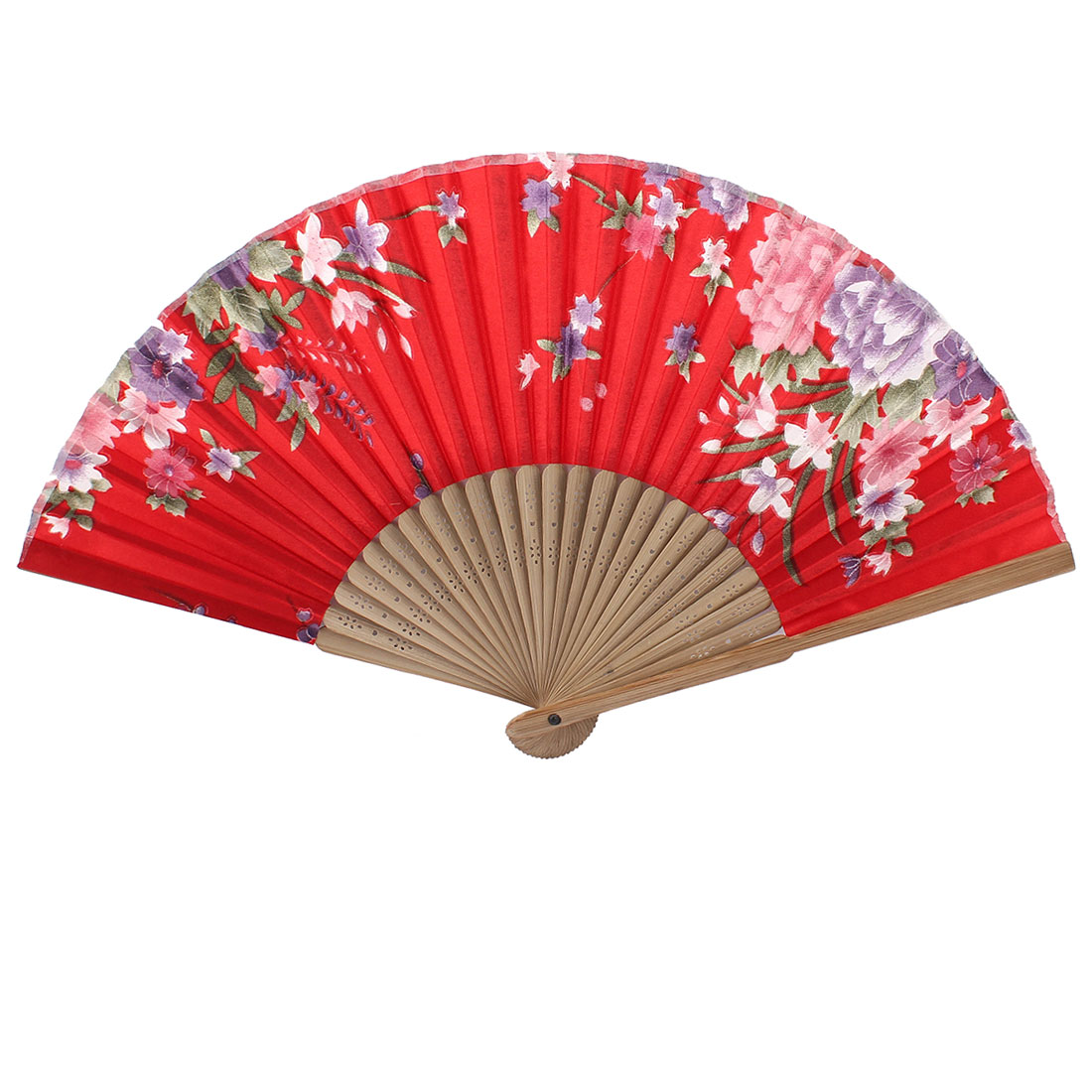Red Beige Bamboo Ribs Flower Pattern Foldable Hand Fan