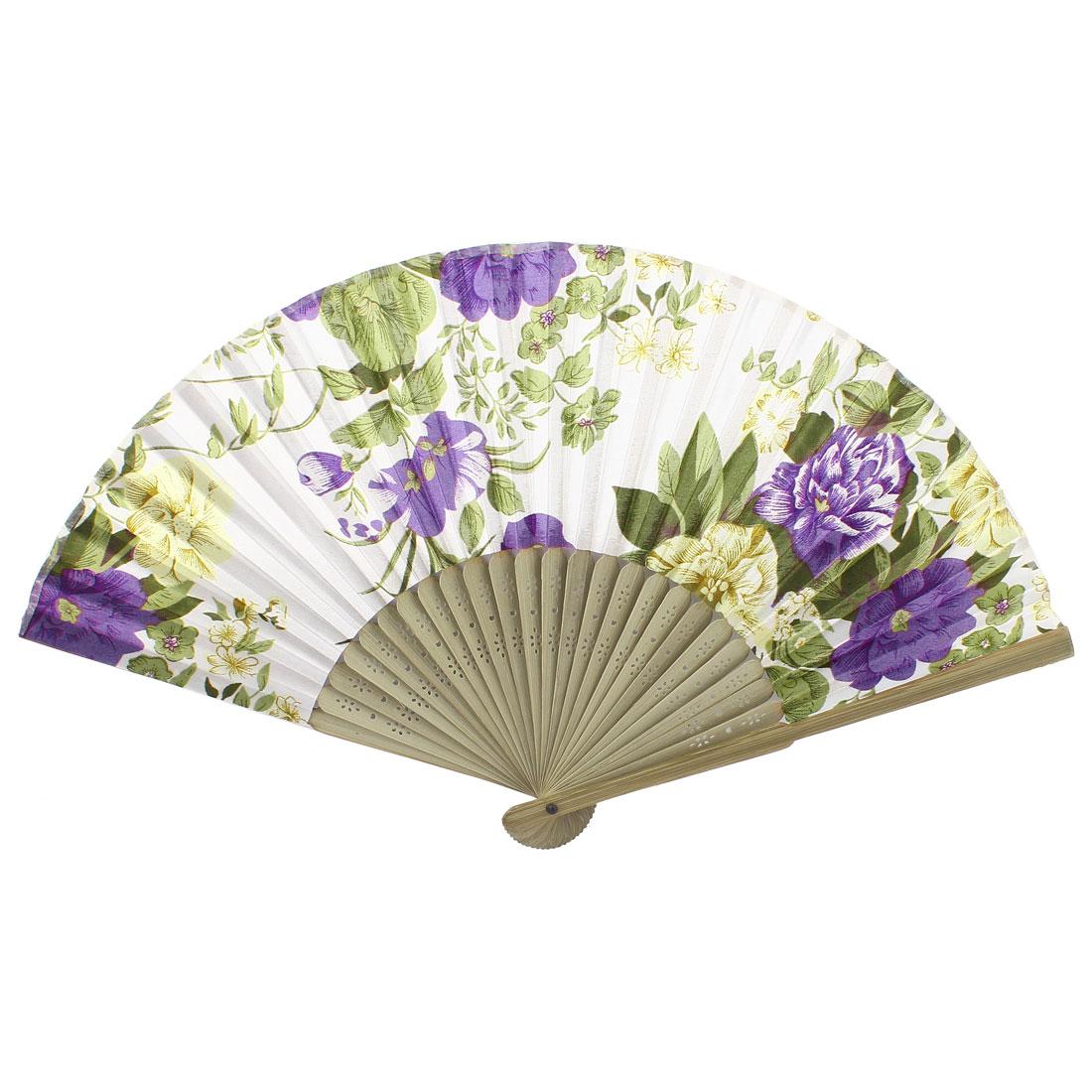 White Purple Beige Bamboo Ribs Flower Pattern Foldable Hand Fan