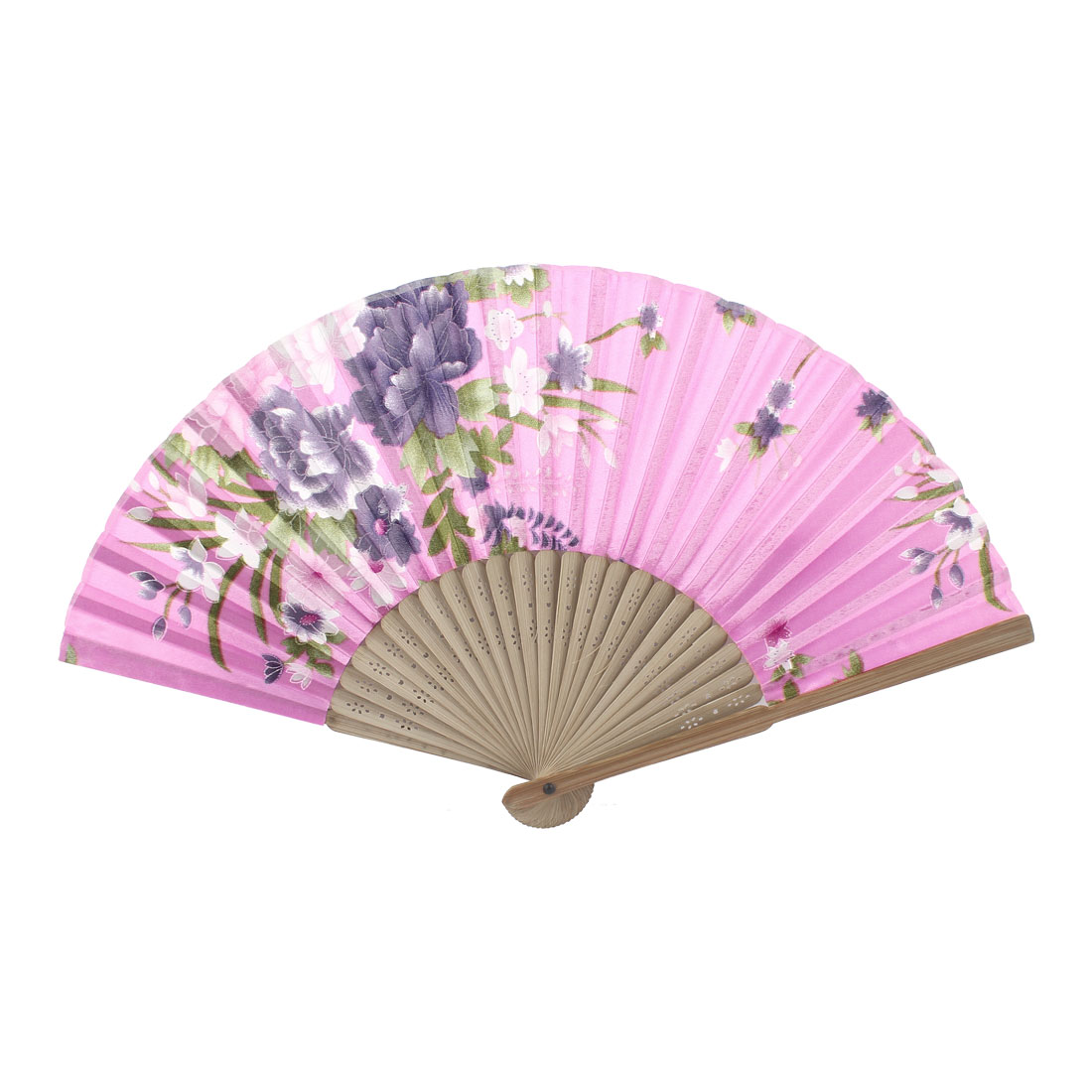 Pink Beige Bamboo Ribs Flower Pattern Foldable Hand Fan