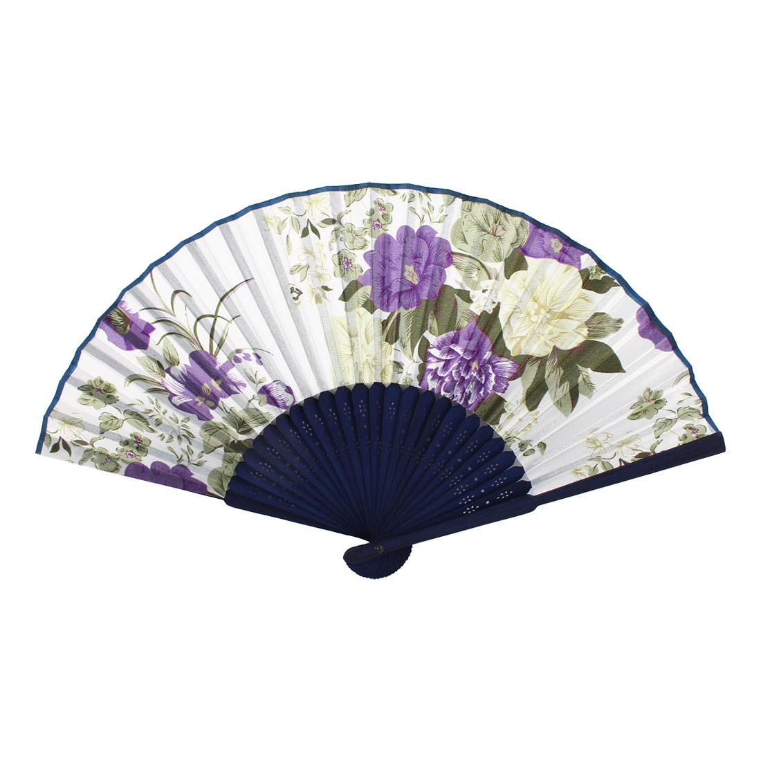 Navy Blue Whie Purple Bamboo Ribs Flower Pattern Folding Hand Fan