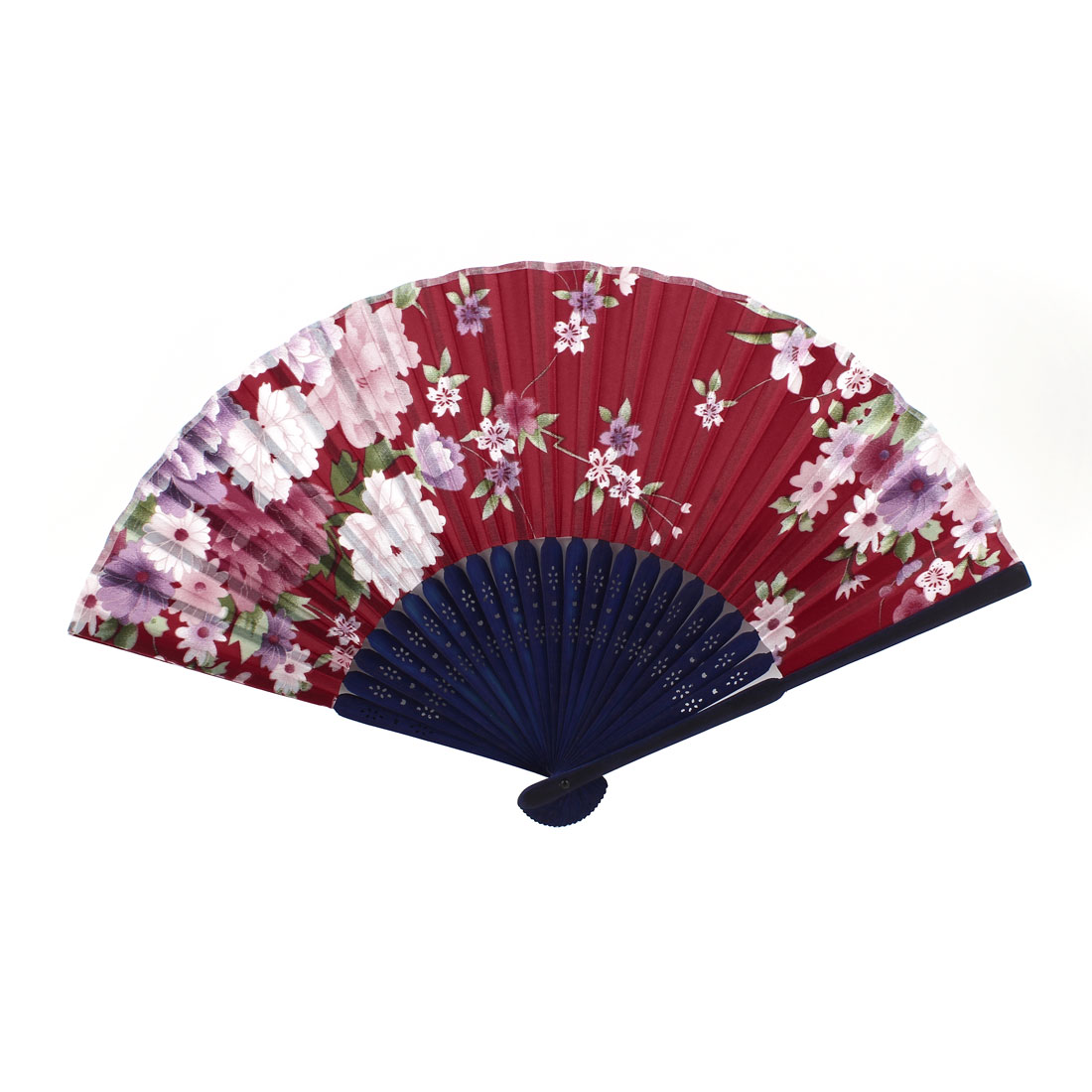 Red Navy Blue Bamboo Ribs Peony Pattern Foldable Hand Fan