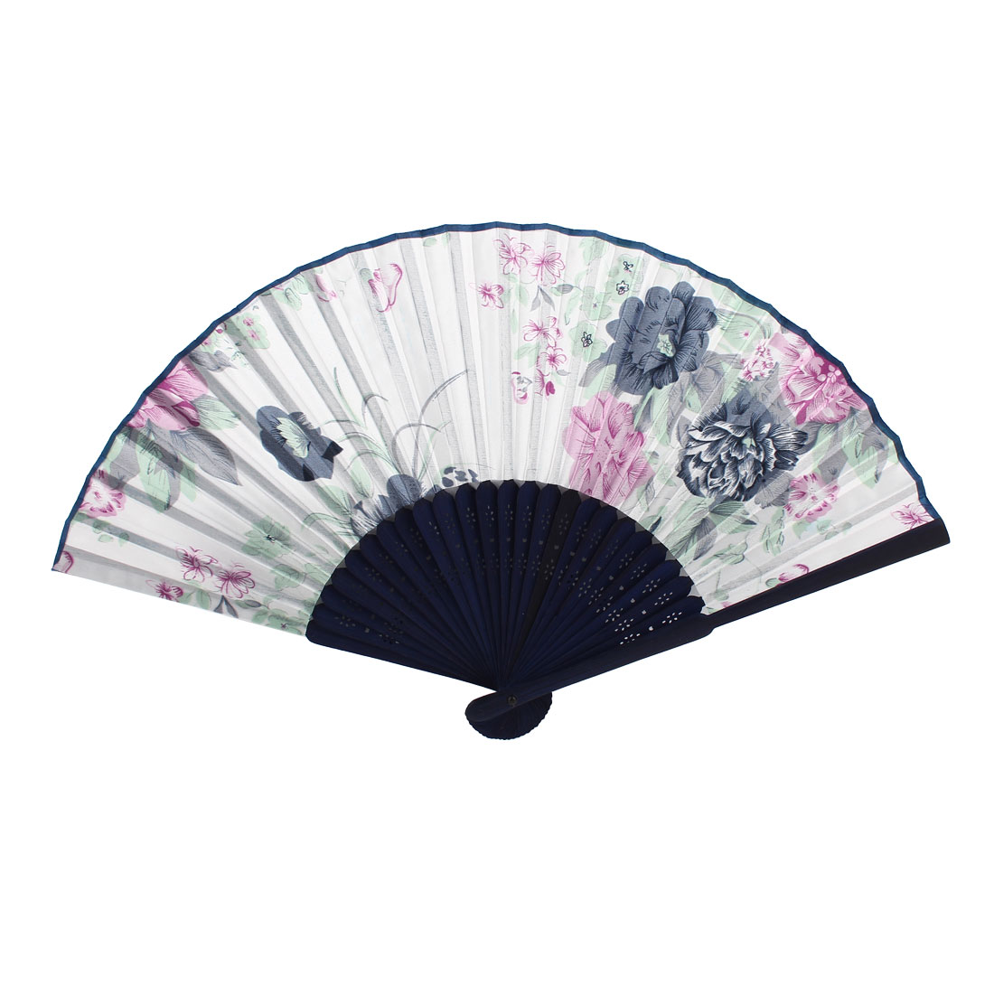 Navy Blue White Bamboo Ribs Peony Pattern Folding Hand Dancing Fan