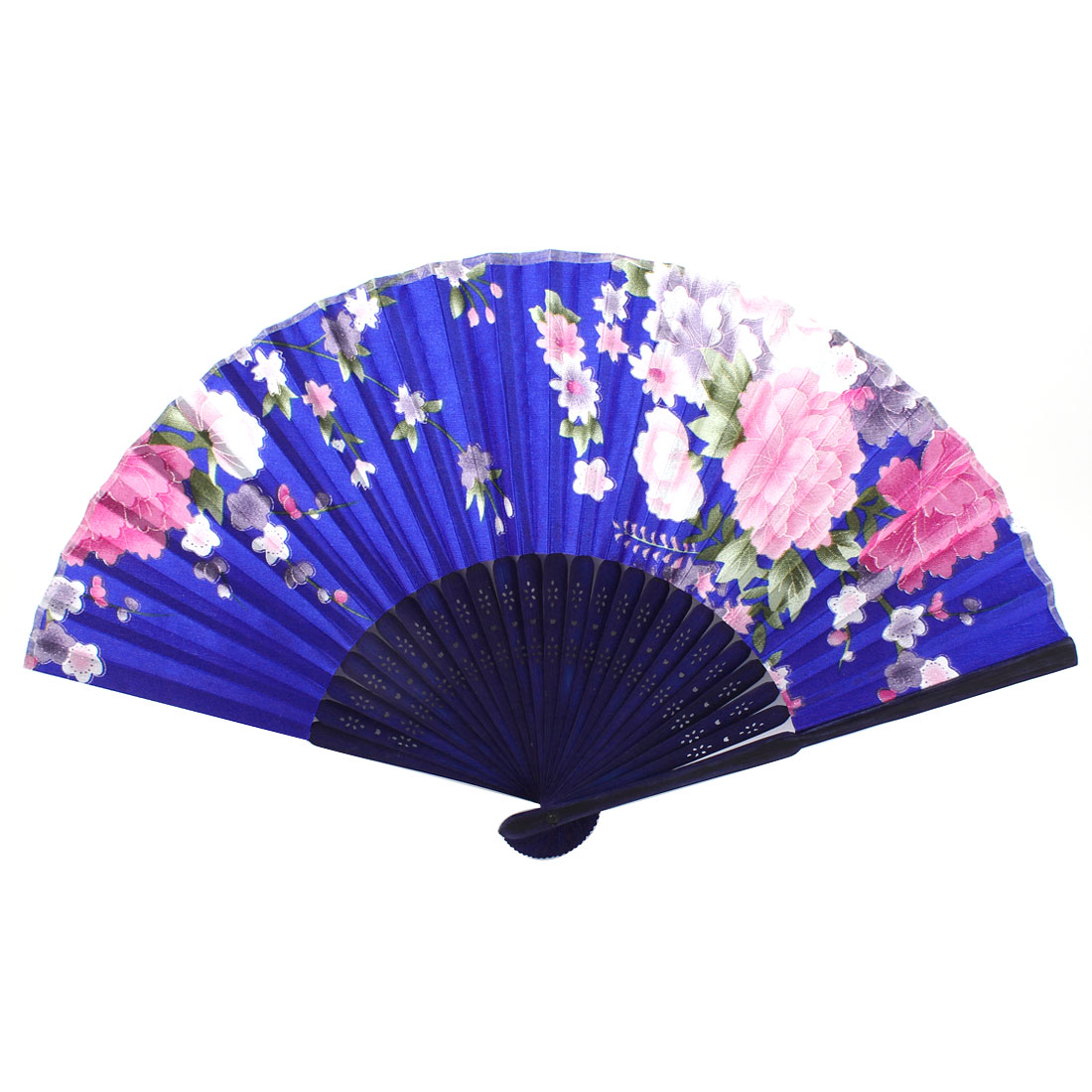 Navy Blue Bamboo Ribs Flower Pattern Foldable Cool Hand Fan