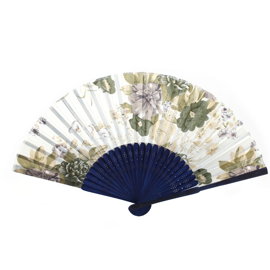 Navy Blue White Bamboo Ribs Flower Pattern Foldable Hand Fan