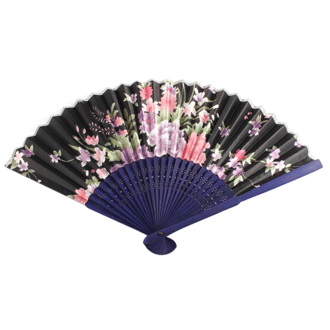Navy Blue Bamboo Ribs Flower Pattern Folding Hand Dancing Fan