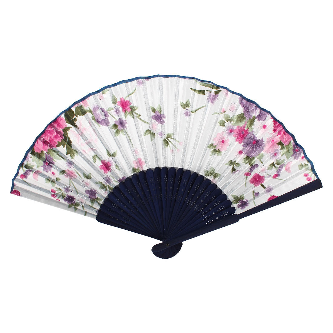 Navy Blue White Bamboo Ribs Floral Pattern Foldable Hand Dancing Fan
